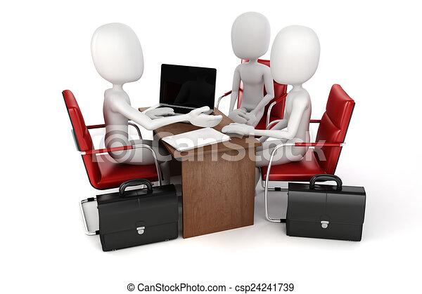3d man, business meeting, job interview - csp24241739