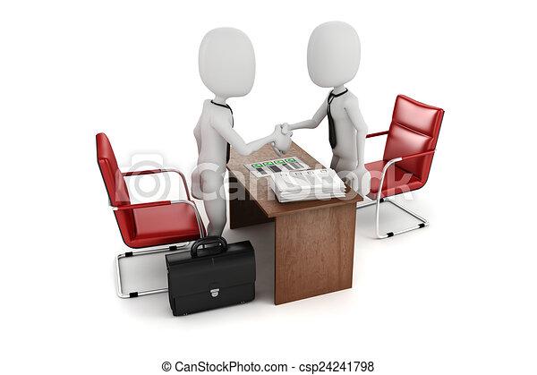 3d man, business meeting, job interview - csp24241798