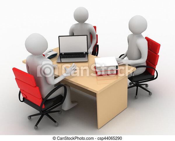3d man, business meeting, job interview - csp44065290
