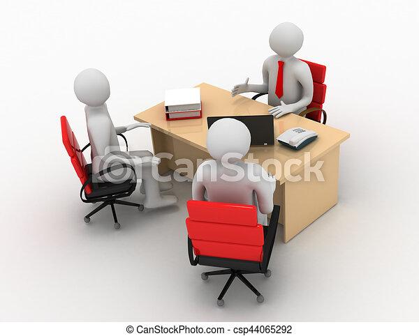 3d man, business meeting, job interview - csp44065292