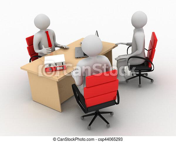 3d man, business meeting, job interview - csp44065293