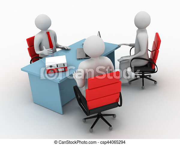3d man, business meeting, job interview - csp44065294