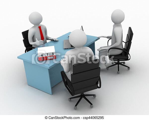 3d man, business meeting, job interview - csp44065295