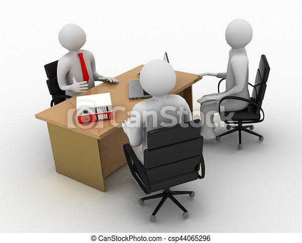 3d man, business meeting, job interview - csp44065296