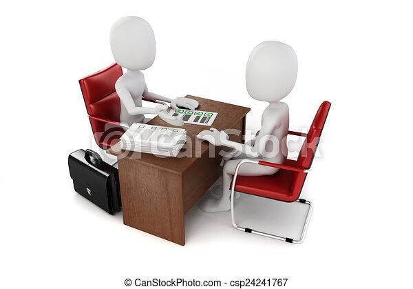 3d man, business meeting, job interview - csp24241767