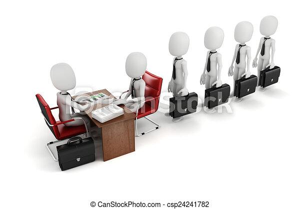 3d man, business meeting, job interview - csp24241782