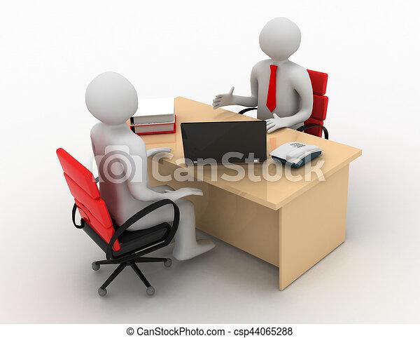 3d man, business meeting, job interview - csp44065288