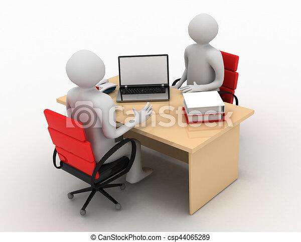 3d man, business meeting, job interview - csp44065289