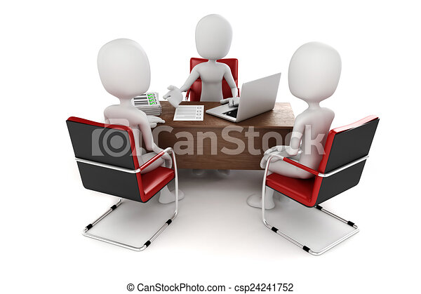 3d man, business meeting, job interview - csp24241752