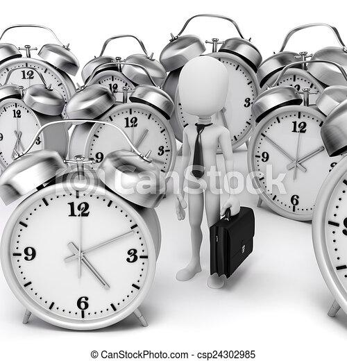 3d man businessman and alarm clock  - csp24302985