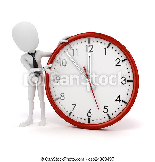3d man businessman and clock - csp24383437