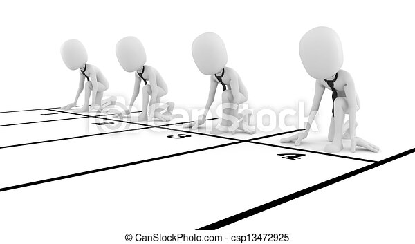 3d man businessman business competition concept, on white background - csp13472925
