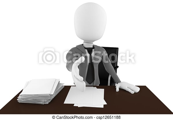 3d man businessman hand shake over desk - csp12651188