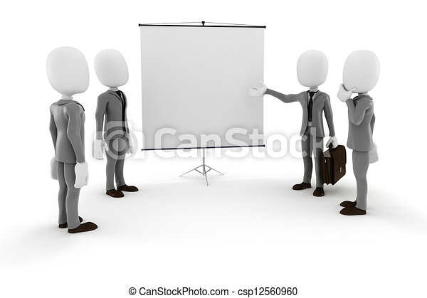 3d man businessman in front of a blank  canvas - csp12560960