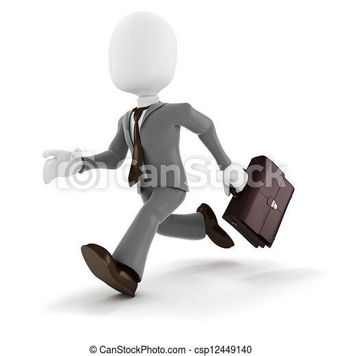 3d man businessman running on white background - csp12449140