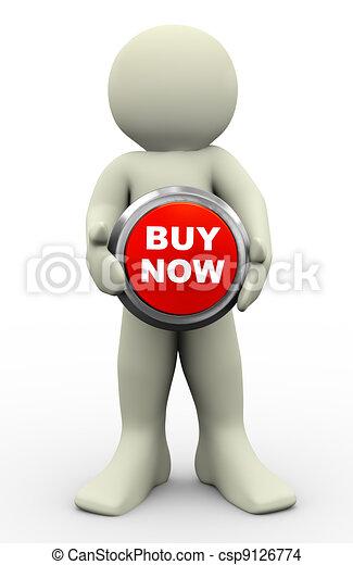 3d man buy now button - csp9126774