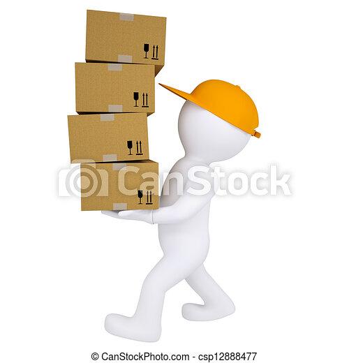 3d man carries boxes - csp12888477