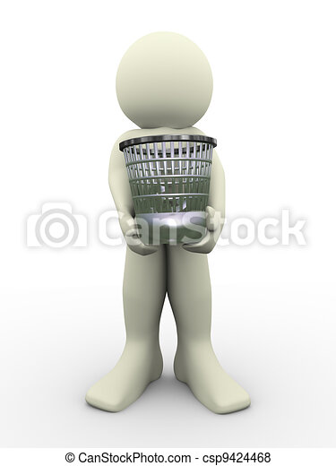 3d man carrying waste basket - csp9424468