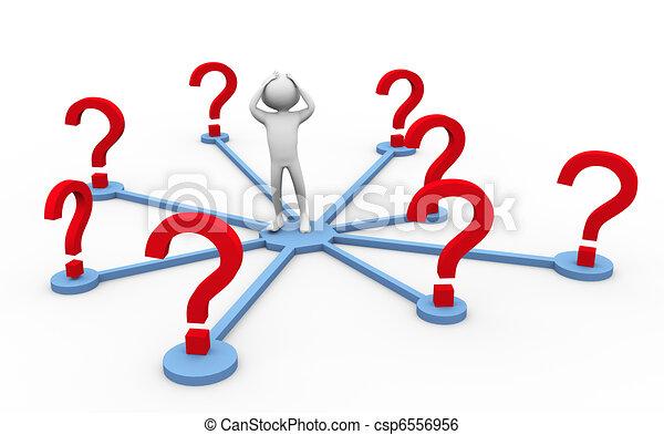 3d man confused - csp6556956