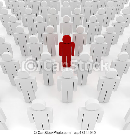 3d man crowd business organization - csp13144940