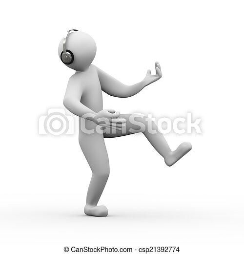 3d man enjoying headphone music