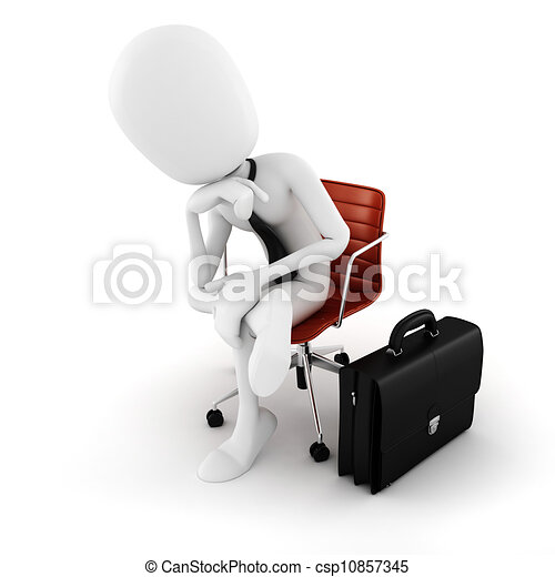 3d man executive sitting in a chair planing the next move , on white background - csp10857345