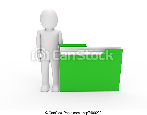 3d man file green - csp7400232