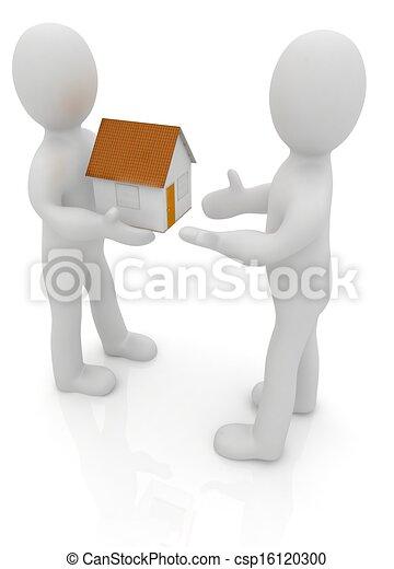 3d man gives house - csp16120300