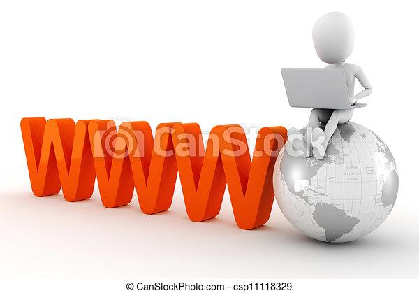3d man global business - csp11118329