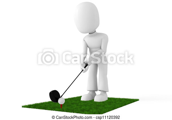3d man golf player - csp11120392