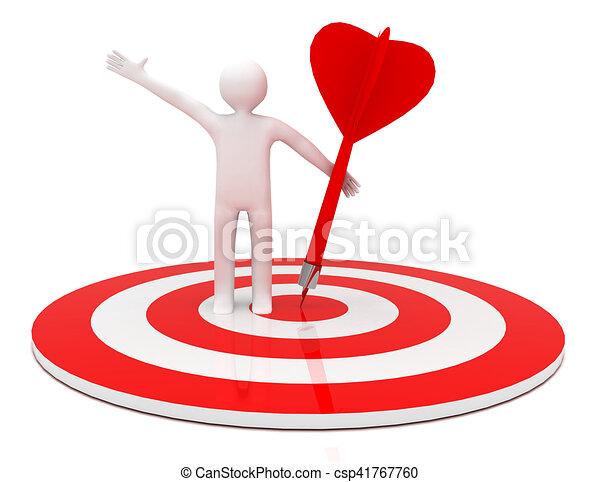 3d man hit the target. success in business. - csp41767760