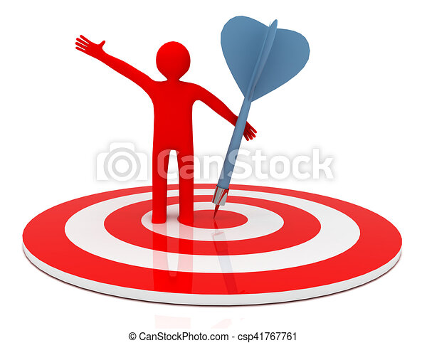 3d man hit the target. success in business. - csp41767761