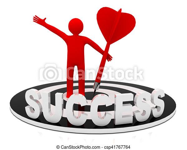 3d man hit the target. success in business. - csp41767764