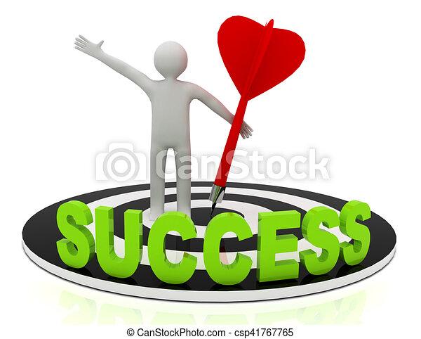 3d man hit the target. success in business. - csp41767765