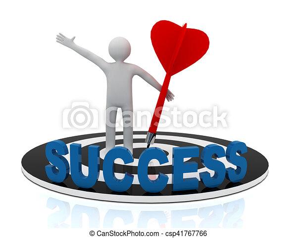 3d man hit the target. success in business. - csp41767766