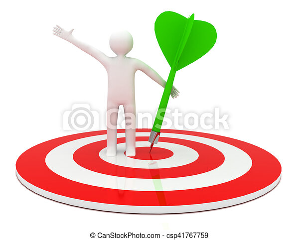 3d man hit the target. success in business. - csp41767759