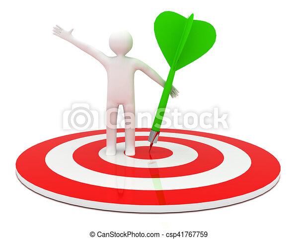 3d man hit the target. success in business. - csp41767759