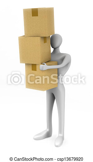 3d man holding a cardboard boxes  - csp13679920