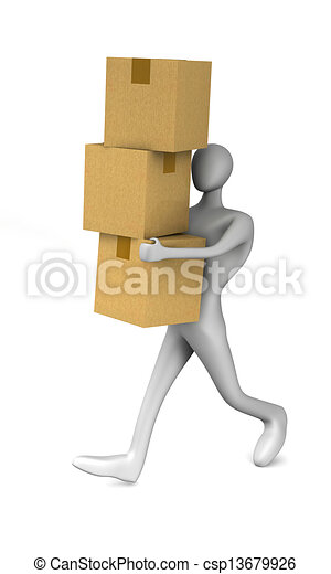 3d man holding a cardboard boxes - csp13679926