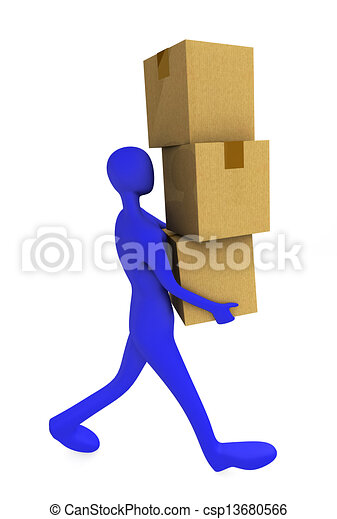3d man holding a cardboard boxes  - csp13680566