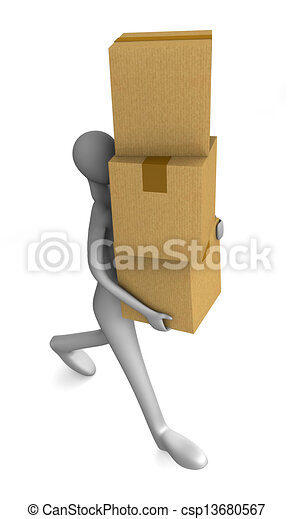 3d man holding a cardboard boxes - csp13680567