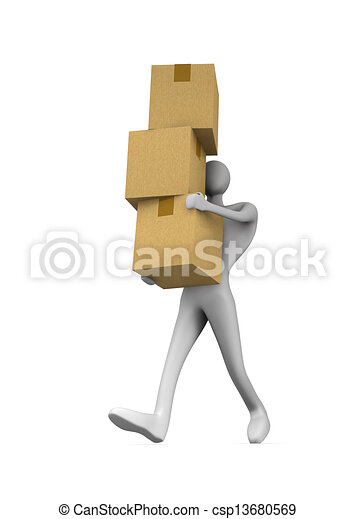 3d man holding a cardboard boxes - csp13680569