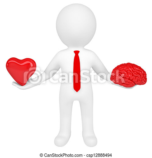 3d man holding a heart and a brain - csp12888494