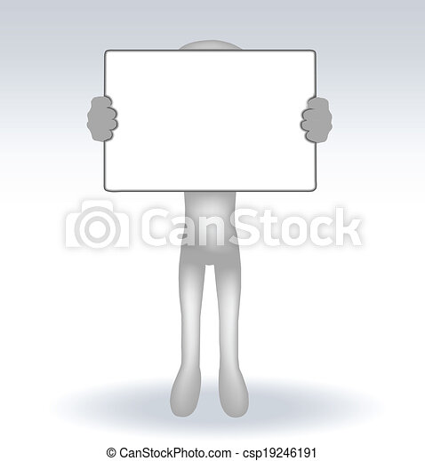 3d man holding a page on white backround - csp19246191