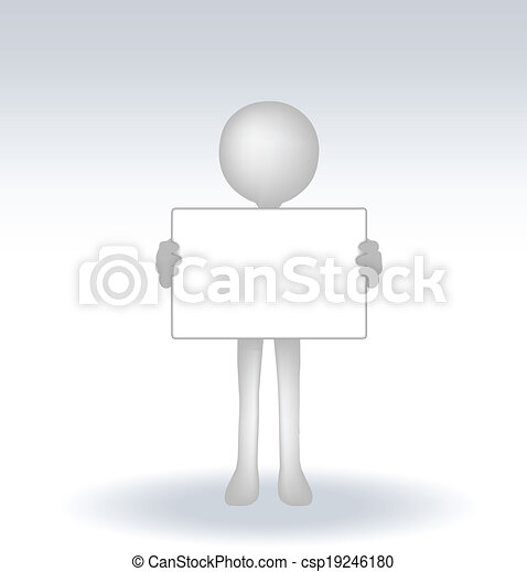 3d man holding a page on white backround - csp19246180