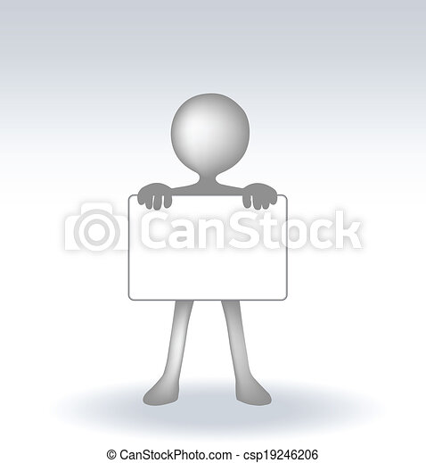 3d man holding a page on white backround - csp19246206