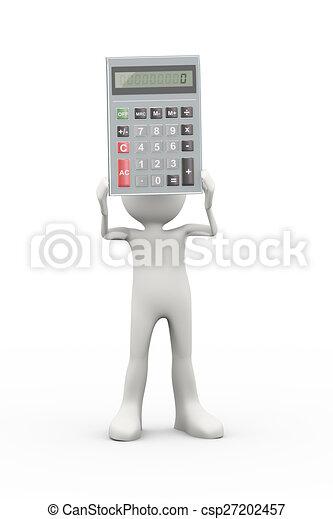 3d man holding calculator - csp27202457