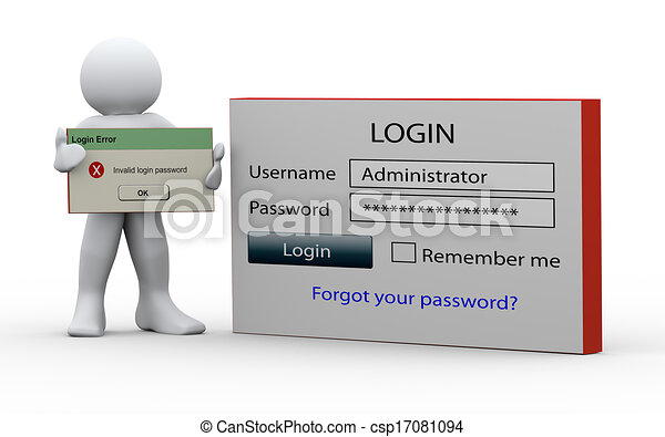 3d man holding invalid login message - csp17081094