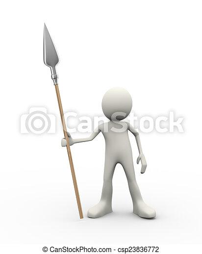 3d man holding spear - csp23836772