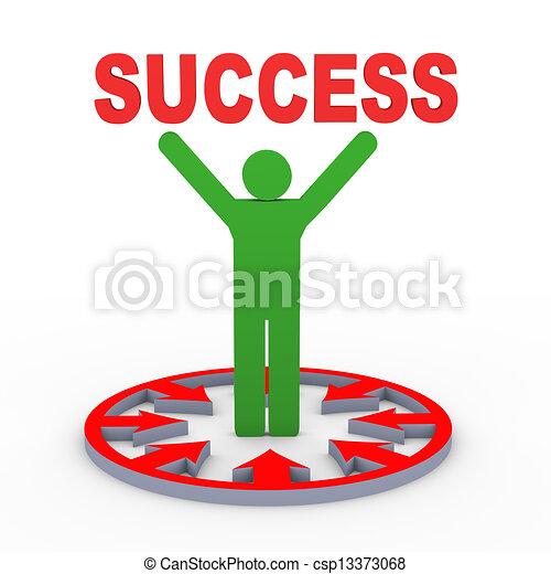 3d man holding success - csp13373068